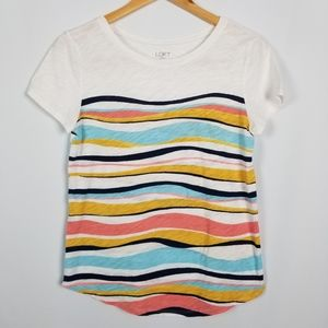 Loft Striped Multicolored Wave Patterned Soft Tee